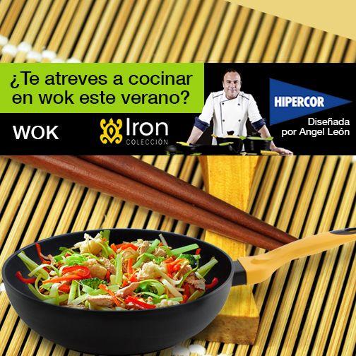Este verano cocinarás con wok con la batería de cocina Iron by Ángel León. Disponible en Hipercor