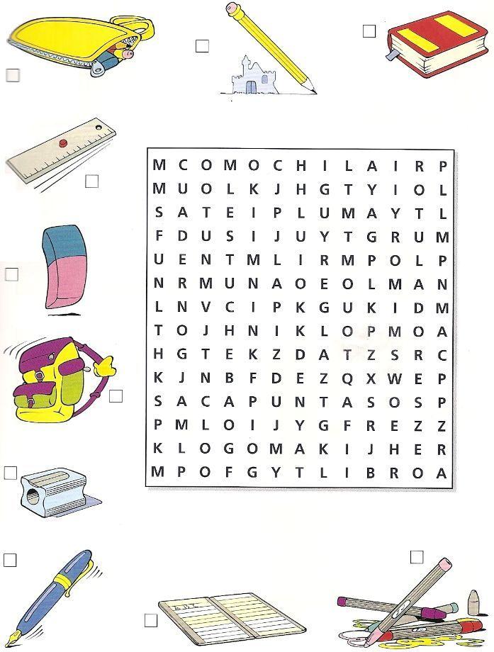 Sopa de letras: útiles escolares                                                                                                                                                                                 Plus