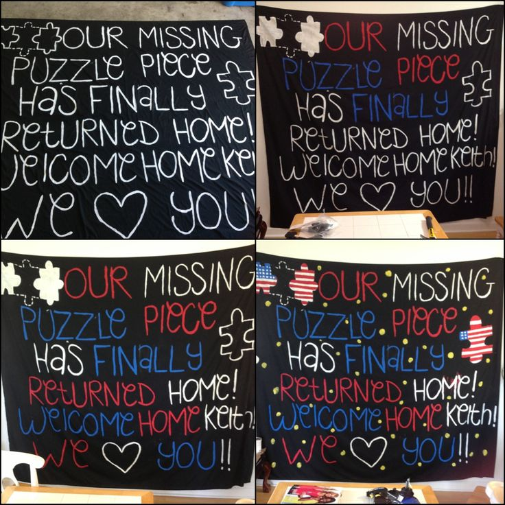 #military #deployment #homecoming #DIY This was my sign for my husbands return home. Super easy and fun to do! I used a queen size sheet and hung it on my garage. My husband loved it! Using a black sheet makes the letters pop more :): Homecoming Ideas, Puzzle Piece, Couples Things, Queen Size, Deployment Ideas, Garage, Armylife, Homecoming Sign
