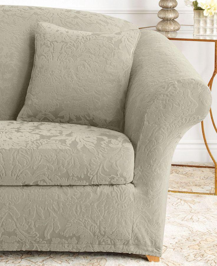 Chesterfield Sofa Sure Fit Stretch Sofa Jacquard Damask Piece Sofa Slipcover