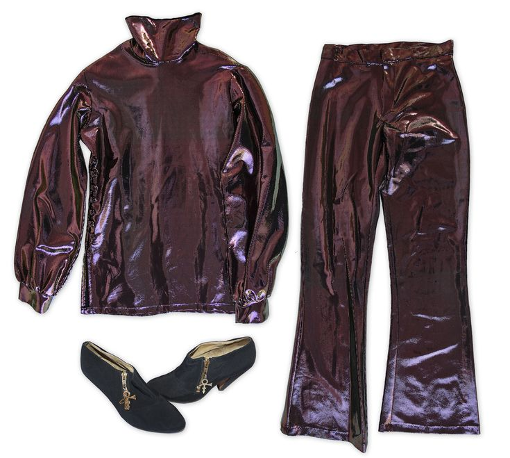 3 piece outfit personally worn by Prince. Outfit consists of shirt, pants and shoes: (1) Purple f