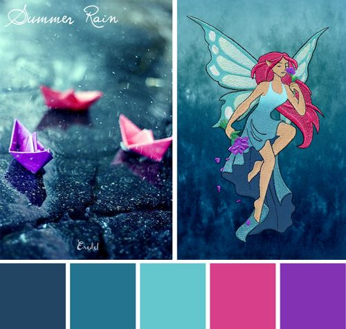 Try this bright Summer Rain color scheme out on your embroidery designs.