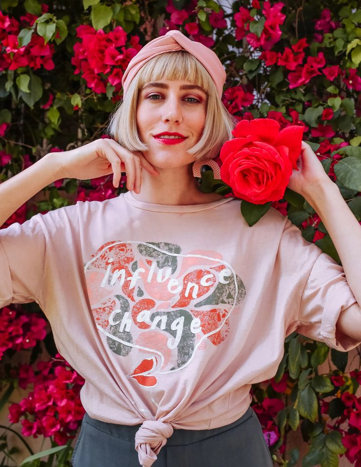 Influence Change Slouchy Tee – Rose