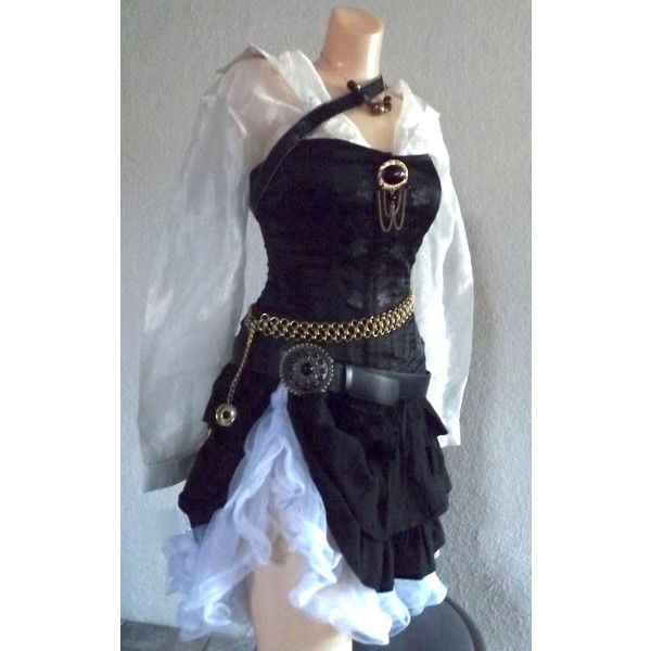 Small Pirate Halloween Costume Small Women's Pirate Costume with... ($399) ❤ liked on Polyvore featuring costumes, dresses, adult costumes, lady pirate costume, pirate costume, adult ladies halloween costumes and womens pirate halloween costumes