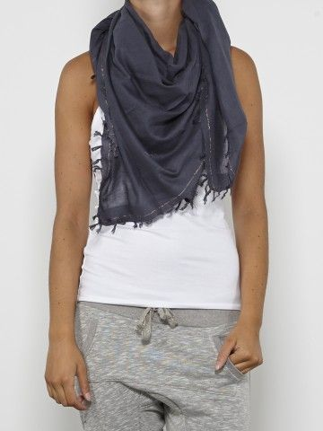 Relaxed and comfortable style with chic scarf white tank top and nice but comfortable sweat pants