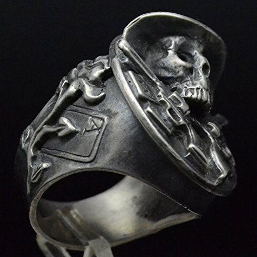 Handmade Texas Cowboy Sterling Silver Biker Skull Ring
