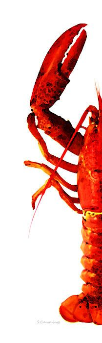 Lobster - The Left Side Painting by Sharon Cummings - Lobster - The Left Side Fine Art Prints and Posters for Sale