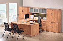 OfficeSource bright honey laminate office suite