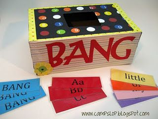 BANG. You take turns drawing cards out of a container. If you can read the sight word you keep the card. If not, the card goes back in. Whoever collects the most cards wins the game. If you draw one of the BANG cards, you have to put back all of the cards you have collected.
