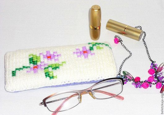купить очечник вязаный оригинальный недорогой аксессуар ручной работы подарок девушке женщине на день рождения практичный подарок для женщины оригинальный футляр для очков handmade с вышивкой