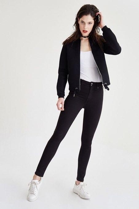 Siyah  Yüksek Bel Skinny Pantolon Online Alışveriş | OXXO