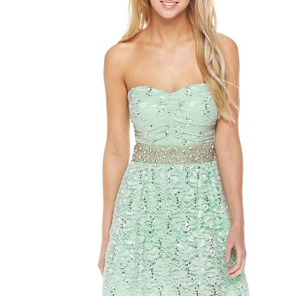 Sequins Lace Strapless Dress - jcpenney