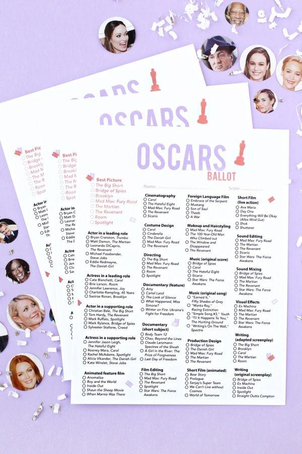 Free printable 2016 Oscar ballot from Studio DIY for your Oscar party