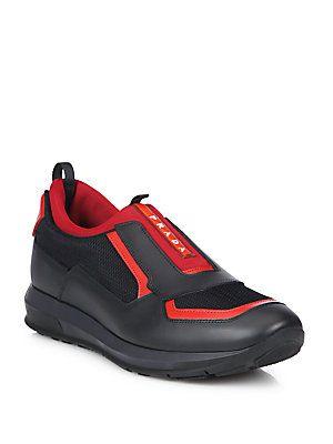 713€ Prada Punta Ala Low Top Leather Sneakers
