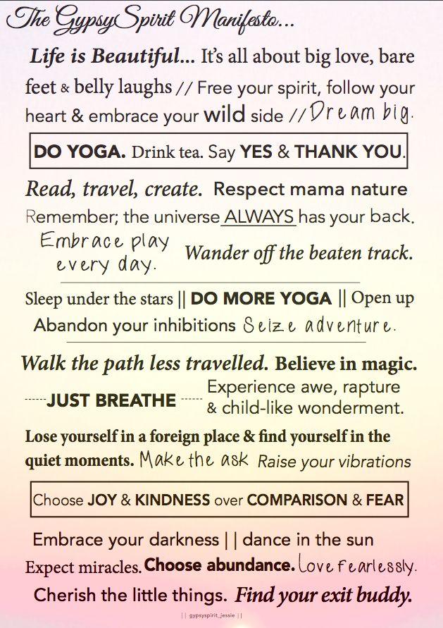 Gypsy spirit manifesto - gypsyspirittravel.com - travel - yoga - love - wanderlust - life - Instagram.com/gypsyspirit_jessie
