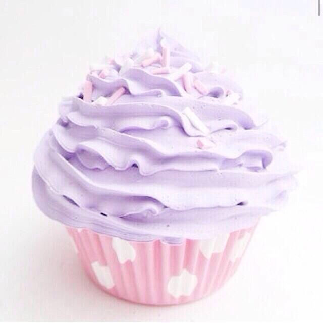 cupcake and lilac frosting