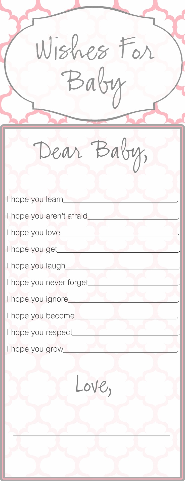 Wishes for baby template that i created for a baby shower for Wishes for baby printable template