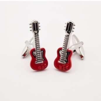 Gemelos para camisa, Gemelos de acero bañados en Rodio, Gemelos guitarra electrica roja. http://www.tutunca.es/gemelos-guitarra-electrica-roja