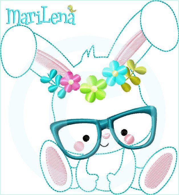 **Stickdatei / Stickmuster kleiner Hase mit Brille und Blume  als Applikation / Doodle.**  Das Motiv ist für den **13x18cm Rahmen**.   **ACHTUNG!!! Es handelt sich um ein Stickmotiv für die...
