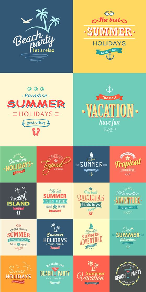 Summer Beach colorful labels set