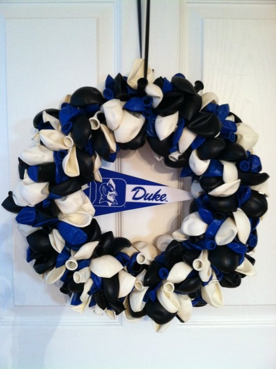 Duke blue devils balloon wreath