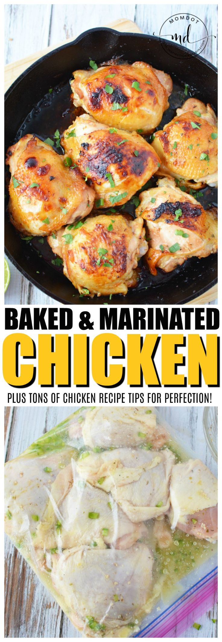 Baked Chicken Marinated perfectly for a crispy outside and moist inside, get recipe plus tons of chicken cooking tips!