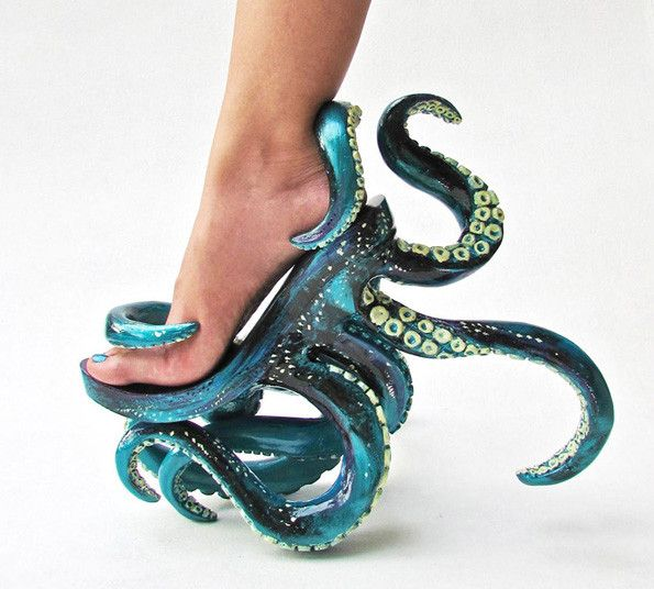 Now You Can Strut On Tentacles With These Octopus High Heels.  Who wouldn't want these?