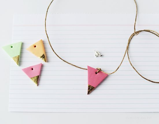 Weekend Project DIY: Gold Leaf Geometric Necklace by Penelope + Pip