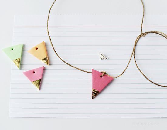 Poppytalk: Weekend Project DIY: Gold Leaf Geometric Necklace