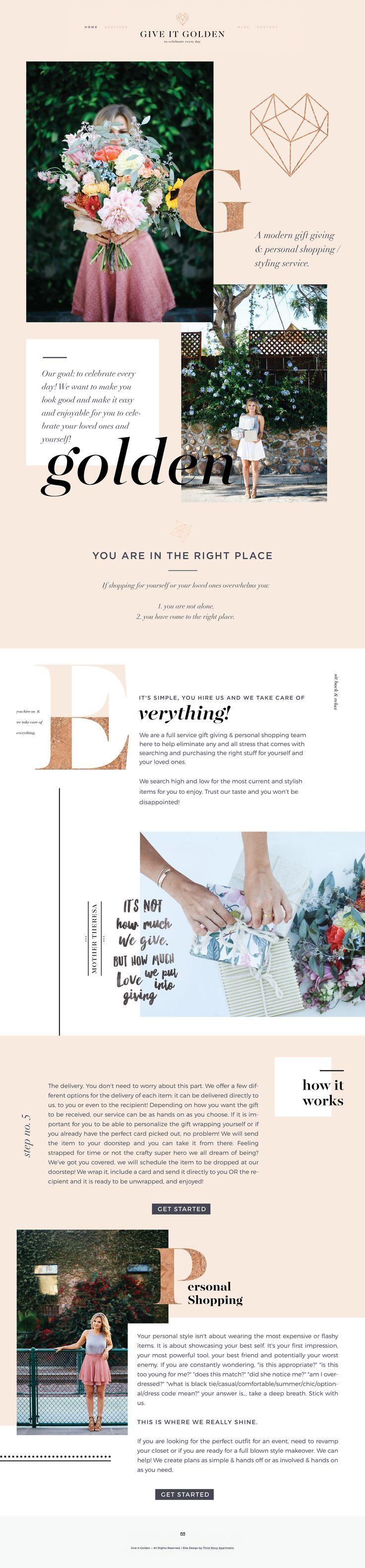 Web Design by Third Story Apartment, Lindsey Eryn Clark Project: #Branding, #WebDesign Client: Give It Golden #WebDesignLayOut #FemaleEntrepreneur #CreativeEntrepreneur