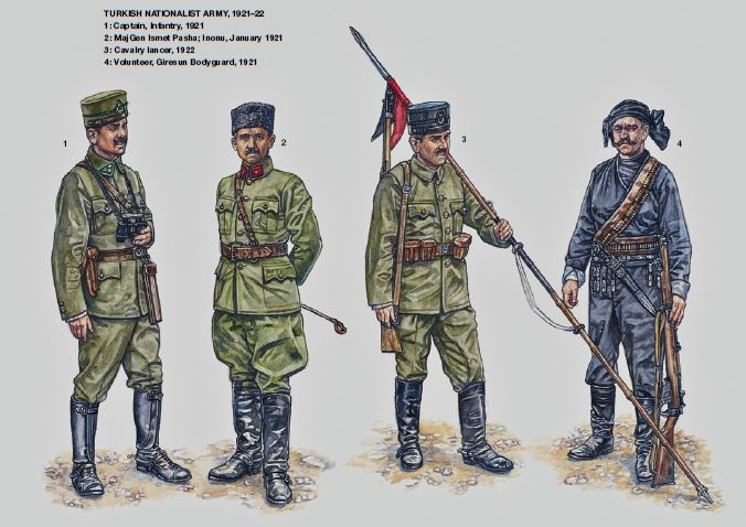 TURKISH NATIONALIST ARMY, 1921–22 1: Captain, Infantry, 1921; 2: MajGen Ismet Pasha, Inonu, January 1921; 3: Cavalry lancer, 1922; 4: Volunteer, Giresun Bodyguard, 1921