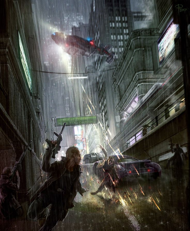 """""""Ronin's Run"""", by Prikka Harvala depicts rain of both the water and lead varieties! Violence erupts on the cold hard streets of Night City, the city where Cyberpunk 2020, and soon Cyberpunk 2077, take place."""