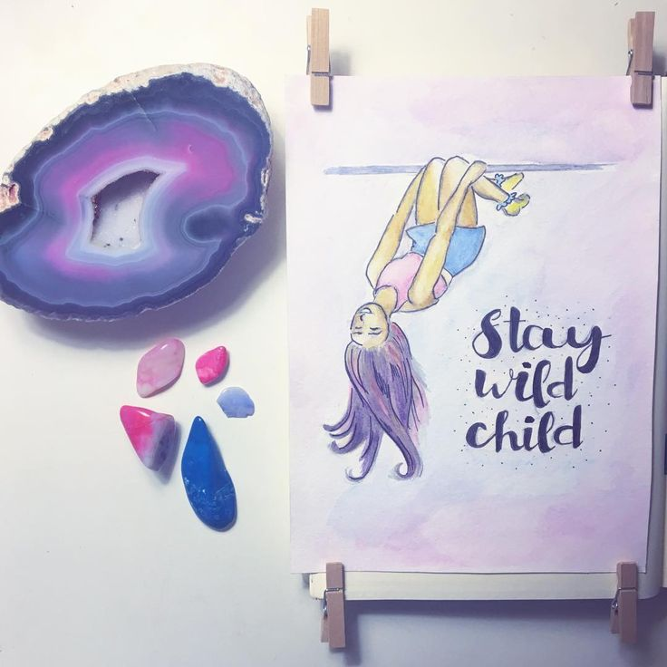 Stay Wild Child Drawing Watercolor doodle crystals gems flatlay girl hanging upside down bullet journal bujo calligraphy typography