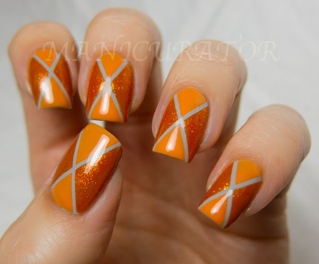 manicurator: nail art, polish, manicures and all things beauty blog: 31DC: Day 2 - Orange Nails - Argyle nail art with Zoya