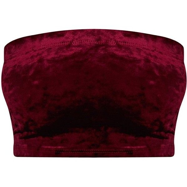 Petite Burgundy Velvet Bandeau Top (£11) ❤ liked on Polyvore featuring tops, red top, petite tops, burgundy top, red bandeau bikini top and bandeau bikini top