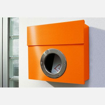 Metal Porthole Mailbox     #home #decor #mailbox #intelligentdesign #lynnfriedman #orange #design: Awesome Mailbox, Design Products, Modern Mailbox, Decor Design, Decor Mailbox, Mailbox Stainless, Design Letterman, Mod Mailbox, By Radius Design