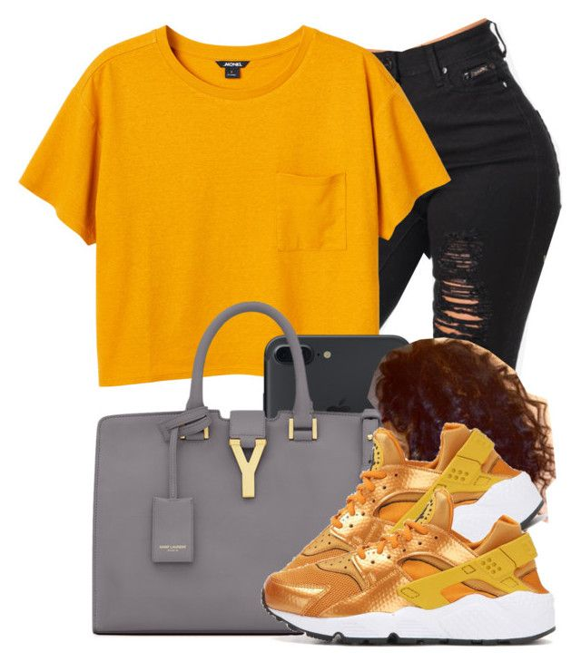 """""""All the Girls!"""" by f0rever-d ❤ liked on Polyvore featuring Monki, Yves Saint Laurent and NIKE"""