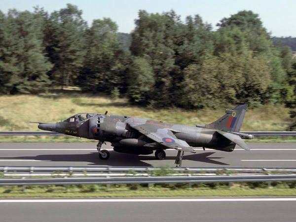 Harrier using a German road