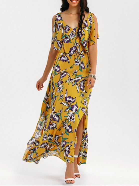 AD : Slit Floral Ruffles Maxi Dress - YELLOW   Occasions: Beach and Summer,Casual ,Going Out   Material: Cotton,Polyester   Dresses Length: Floor-Length   Collar-line: V-Collar   Sleeves Length: Short Sleeves   Decoration: Slit   Pattern Type: Floral   With Belt: No   Season: Summer   Weight: 0.4750kg   Package: 1 x Dress