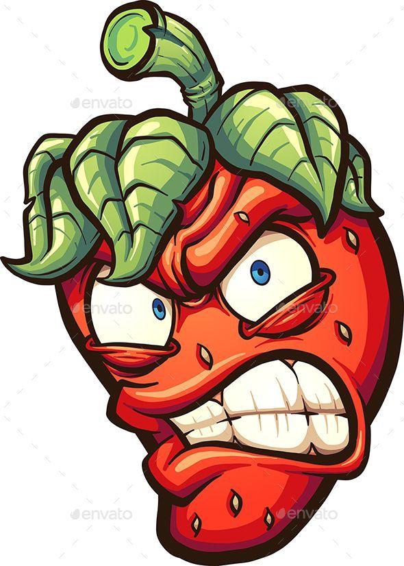 Angry cartoon strawberry. Vector clip art illustra…