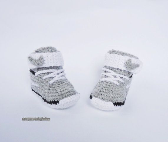 Crochet Baby Shoes Toddler Shoes Gray Baby by BABYCROCHETfashion