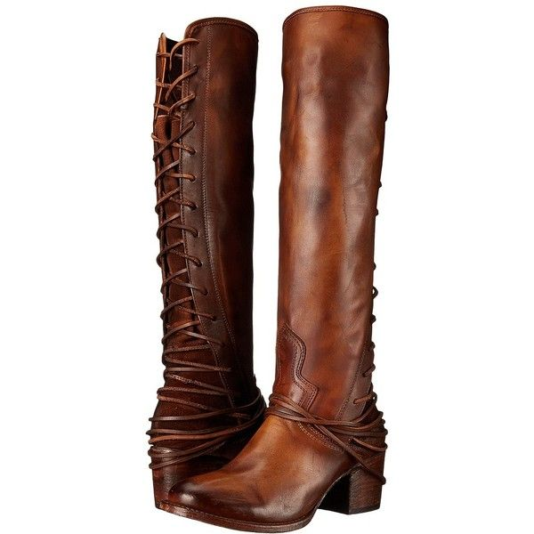 Freebird Coal (Tan) Cowboy Boots (475 CAD) ❤ liked on Polyvore featuring shoes, boots, knee-high boots, tall cowgirl boots, knee high lace up boots, tall western boots, freebird boots and tan cowgirl boots