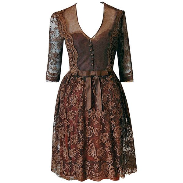 Pre-owned 1950's Maggy Rouff Haute-Couture Brown Sheer Illusion... ($1,400) ❤ liked on Polyvore featuring dresses, vintage, aesthetic evening dresses, evening dresses, vintage slip, 3/4 sleeve dress, sleeve cocktail dress, vintage lace dress and lace-sleeve dress