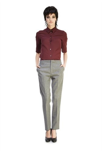 Marc Jacobs FW13 Collared Blouse and Flannel Slim Ankle Pant with Ticket Pocket
