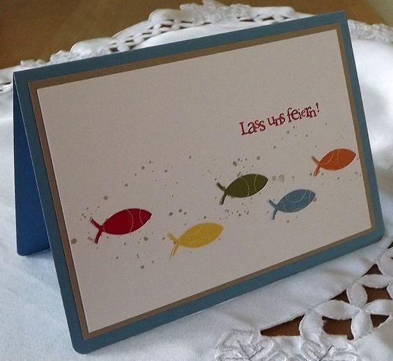 """Doppelkarte mit Briefumschlag und Einlegebogen,  verpackt in einer Klarsichthülle  Einladungskarte aus hochwertigem Kartenpapier mit ausgestanzten Fischen und der gestempelten Schrift """"Lass uns… – +49 160"""
