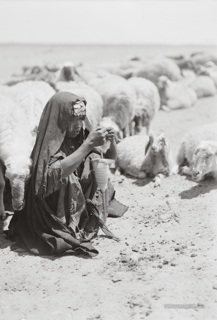 Palestine | Bedouin shepherdess spinning yarn. Beersheba | August 1932 | Matson (G. Eric and Edith) Photograph Collection