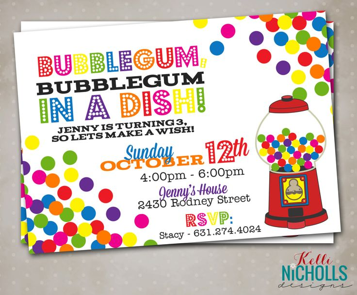 Gumball Birthday Invitation, BubbleGum Bubble Gum Machine, Custom Digital Invite by KelliNichollsDesigns on Etsy https://www.etsy.com/listing/265015184/gumball-birthday-invitation-bubblegum