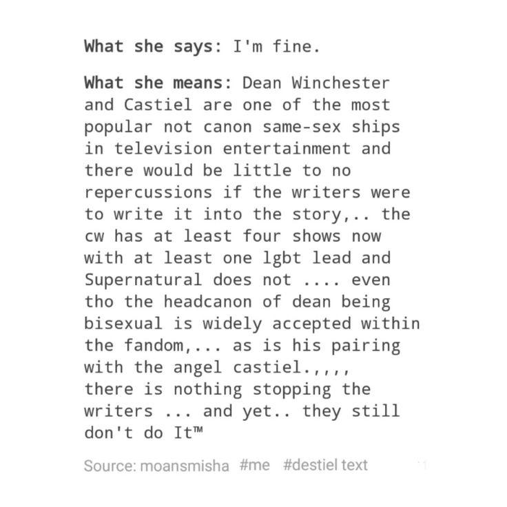 supernatural tumblr textpost destiel funny dean winchester castiel cas
