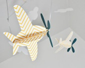 Baby Mobile Airplanes in Yellow and Blue Arrow by CactusAndOlive
