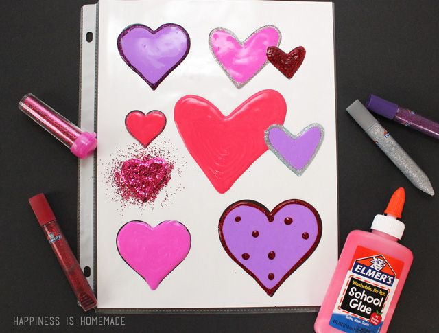 How to Make Window Clings with Elmer's Glue! These are a perfect Valentine's Day kids craft!